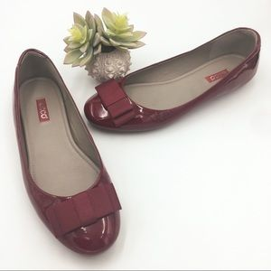 [ecco] red patent bow flats